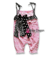 Wholesale Girls Summer Bow Pink Zebra Gallus Rompers Baby Girls Suspender Jumpsuits Children Clothing ems