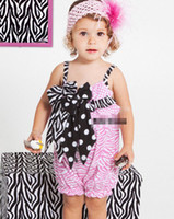 Wholesale Girls Summer Bow Pink Zebra Gallus Rompers Baby Girls Suspender Jumpsuits Children Clothing