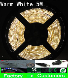 5M warm white LED Strip Light 5050 SMD Waterproof Flexible white red blue yellow 300 with connector power supply 5A plug Best Price