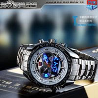 Wholesale 2014 New Trendy Men s Sport Watch TVG KM Fashion LED Analog Dive Watch for Men Dual Movements Waterproof