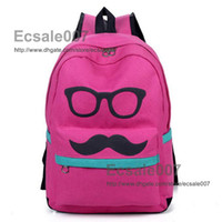 Wholesale Super Design Big Beard Mustache Eye Double Shoulder Bag Pouch Tourism Leisure Backpack Schoolbag for Students Ladies Mixed More Colors