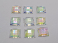 Wholesale 100 Transparent AB Flatback Acrylic Square Sewing Rhinestone X14mm Sew on beads