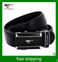Wholesale New arrival septwolves fashion leather belt for men black belt men buckle belt