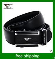 Wholesale septwolves fashion leather belt for men black belt men buckle belt