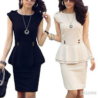 Wholesale Beige Black Dress OL Temperament Peplum Womens Ladies Sleeveless Top Skirt Suit