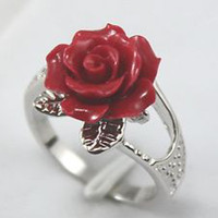 Wholesale 18K White Gold GP Inlay Red Flower Coral Gems Gemstones Ring