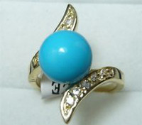 Wholesale A1207 K Yellow Gold GP Jewelry Blue Sea Shell Pearl Round amp Crystal Ring AAA