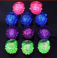 Wholesale Hot Selling Cool Led Light Up Flashing Bubble Ring Rave Party Blinking Soft Jelly Glow Party favor