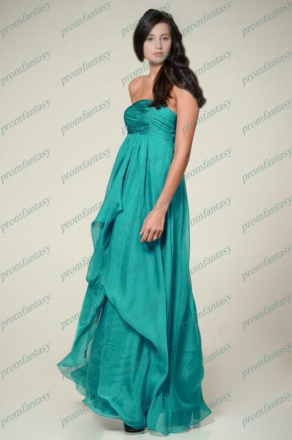 2013 Fashion Turquoise Strapless Long Chiffon Empire Maternity ...