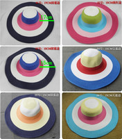 Wholesale Xmas gift piece Large Brim Summer Beach Hat color lady fashion sun beach colorful Cap