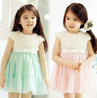 2013 Girls Coffion Dresse Rose Flowers Spell Yarn Sweet Dres...