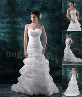 Wholesale 2013 Charming Bridal Gown A Line Sweetheart Beaded Pleated Pick ups Organza Wedding Dresses DH00285