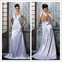 Plain 2013 Bridal Gown A- Line V- Neck Backless Beads Bow Ruch...