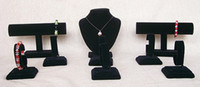 Wholesale Black Velvet Jewellery Display Stand set necklace bracelet watch jewelry holder pack