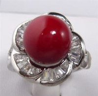 Wholesale A1212 K White Flower Gold GP Red Sea Shell Pearl Round Gemstone Ring