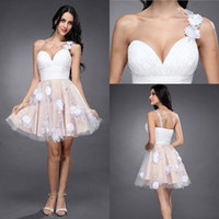 Wholesale Sexy One shoulder Zipper Ruffle Applique Sequin Tulle Knee Length Homecoming Drress