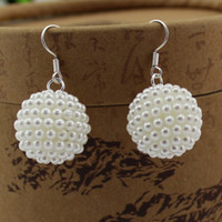 Wholesale 2013 New Korean Simulated Pearl Earrings Round Ball Earrings pairs E151