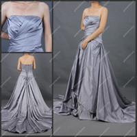 full figure dresses - Full Figure Evening Dresses Strapless A line Chapel Train Silver Stretch Satin Formal Evening Gown