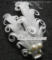 Wholesale white curl feather bridal bobby pin Wedding Hair Accessory Bridal Facinator Head Piece
