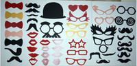 Cheap 50pc Photo Booth Props-Glasses Mustache on a Stick For Wedding Party Photography
