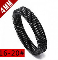 Wholesale 4 mm black white stainless steel mesh ring