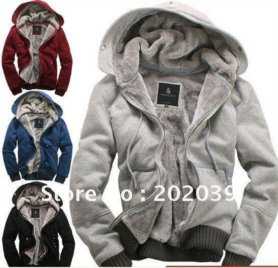 2017 New Men's Plush Thick Warm Overcoat Winter Hoody Fleece &Amp ...