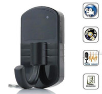 Wholesale spy hooks HD Motion Detection Clothes Hidden Hook Camera with Remote control and retail package