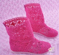 Wholesale 2014 girl s fashion hallow leisure knee breathable boots children s long network cut outs knitted sh