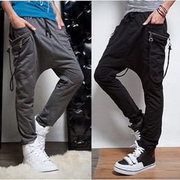 Wholesale 2013 men s personality trousers harem pants skinny pants lanyard decoration sports pants