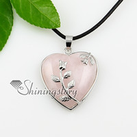 european precious jewelry - heart leaf turquoise rose quartz agate opal amethyst semi precious stone necklaces pendants jewelry Spsp0827TC0 natural stone jewelry