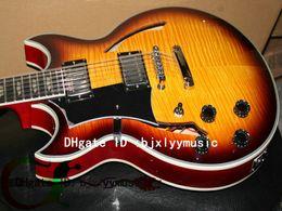 Custom 12 strings guitar Left Handed Guitar Sunburst Johnny hollow body jazz Electric Guitar Free Shipping