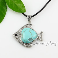 semi precious stone - fish heart turquoise glass opal semi precious stone shining rhinestone necklaces pendants jewelry natural stone jewelry Spsp0847TC0