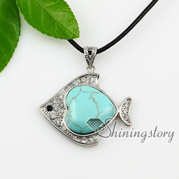 fish heart turquoise glass opal semi precious stone shining rhinestone necklaces pendants jewelry natural stone jewelry Spsp0847TC0