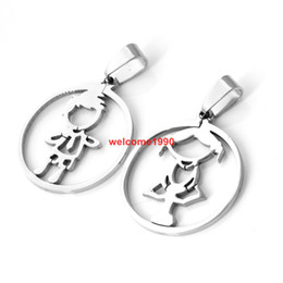 5set lot High polished 100% Stainless Steel 26mm baby girl baby boy round couple pendant,new gifts