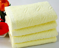 Wholesale 33 cm yellow Thicked cotton towel bath towel Hand Face Towels Strong water