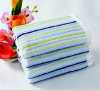 Wholesale 34 cm blue stripe Thicked cotton towel bath towel Hand Face Towels Strong water
