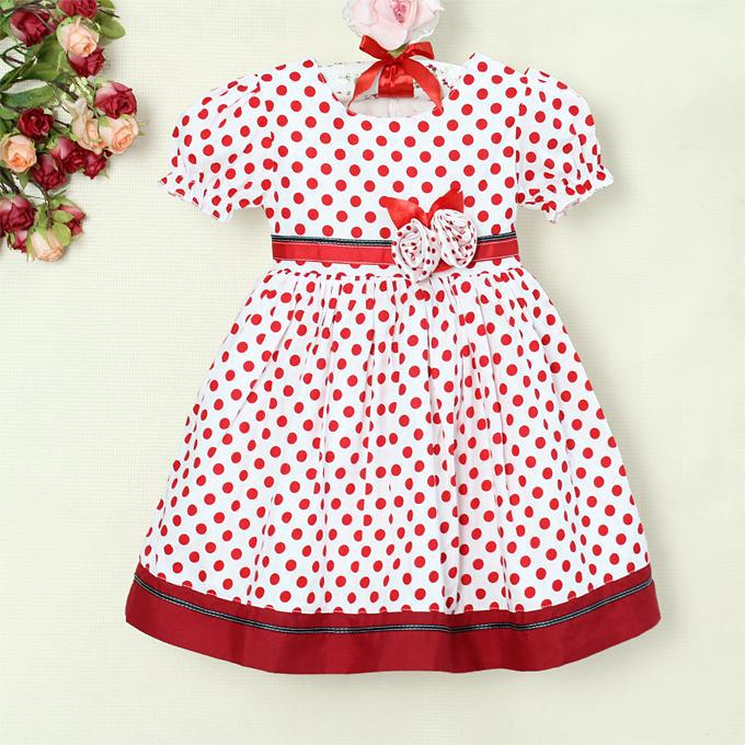 Red and white polka dot dress for girls