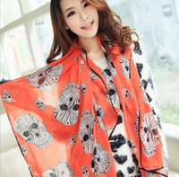 Wholesale Fashion Spring Summer Big Skull Printed Thin Chiffon Silk Scarf Women Korean Style Brand Design