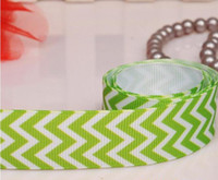 Wholesale chevron pattern ribbons green grosgrain ribbon yards Polyester C175