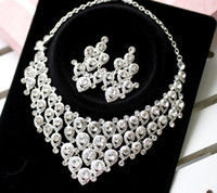 Wholesale Gorgeous New Rhinestones Cheap Wedding Party Bridal Jewelry Set Include Necklace Earrings Water DropS