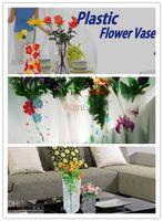 Wholesale DIY flower vase MIX Size folding vase PVC vase foldable vase small opp bag eco friendly vase