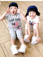 Cheap 2013 summer clothing boys girls flag suit children's clothing mix order 10pcs lot