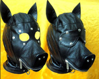 Wholesale Ultimate leather dog mask hood adult face mask fetish fantasy sex slave set bar stage performance sex toys