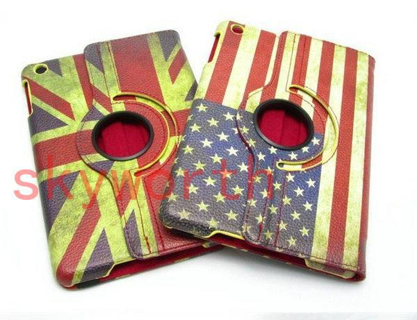 Magnetic Retro UK US Flag Map Leather Case Rotating Case Cover - Magnetic us map