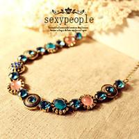 Unisex colored rhinestones - 141 hot sell fashion lovely women jewelry bohemia style colored rhinestone vintage chokers necklaces