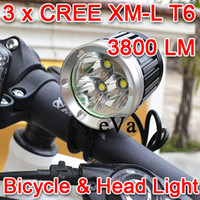 Light ABS 110g NEW 3800LM 3xCREE XML XM-L T6 LED Bicycle Bike Head Light Lamp 1x8.4v Battery Pack 1PCS NEW