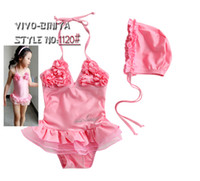 2013 Girls Swimwear Bright Pink Flowers Siamese Swimwear Bab...