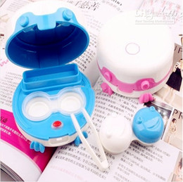 Wholesale 100pcs electronic contact lens case automatic cleaning frog prince lens case