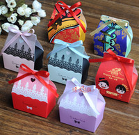 Wholesale Romantic Cartoon Print Paper Candy Boxes Square Colorful Wedding Favors Party Gift Boxes Holders
