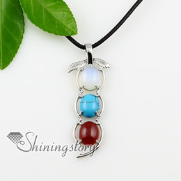 oval leaf glass opal turquoise agate amethyst tigereye semi precious stone necklaces pendants jewel Spsp0916TC5 natural stone jewelry